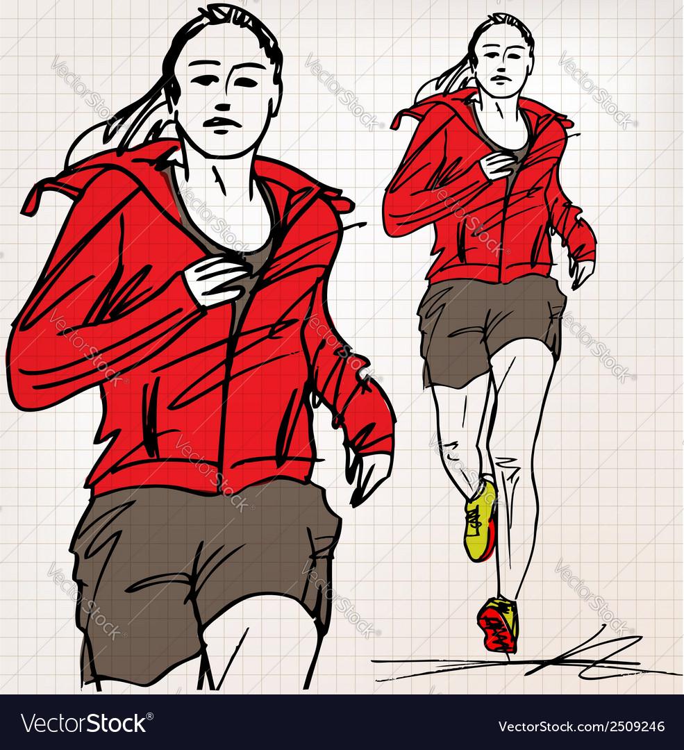 Female runner sketch