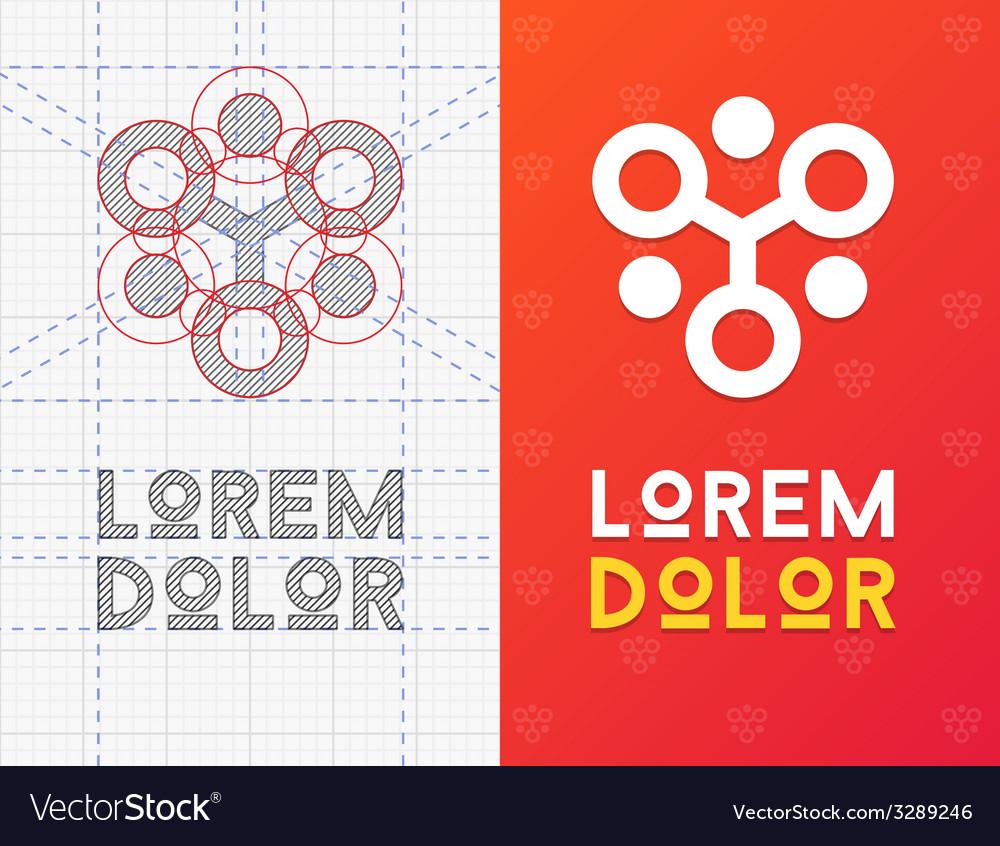 Geometric business icon with scheme