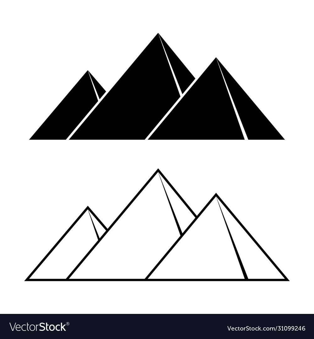 Giza pyramids outline silhouettes set