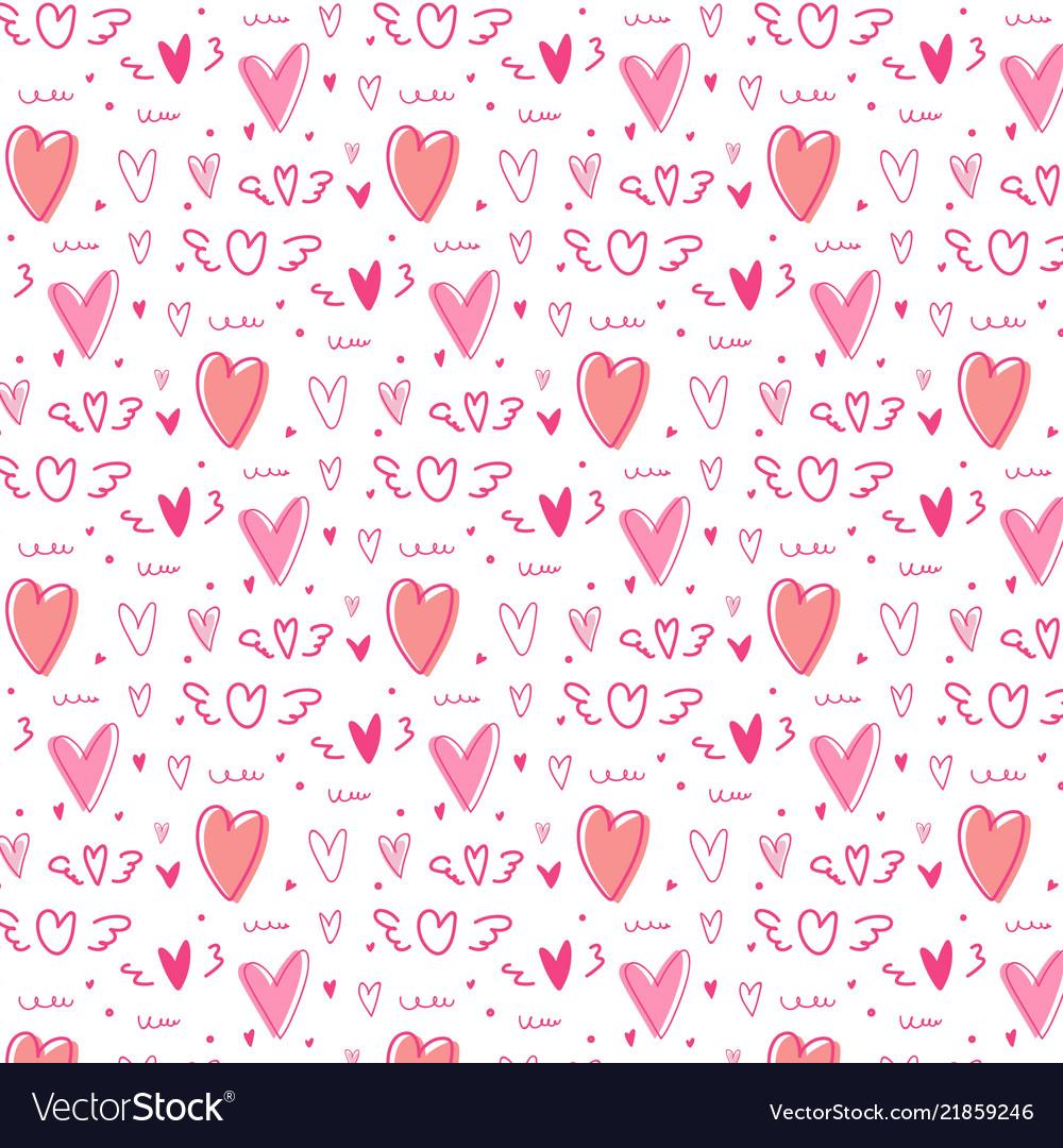 Hand drawn cute heart pattern background