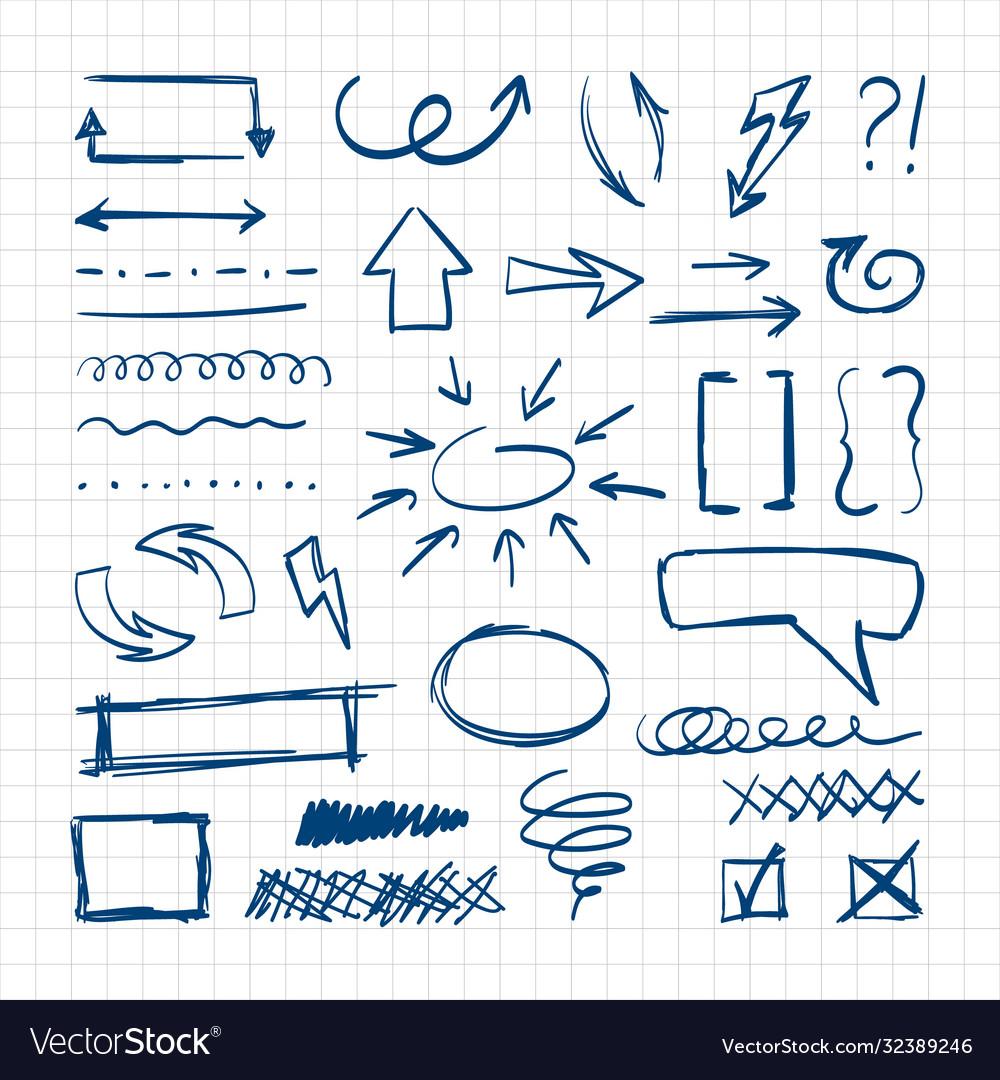 Handdrawn pen design sketch elements direct