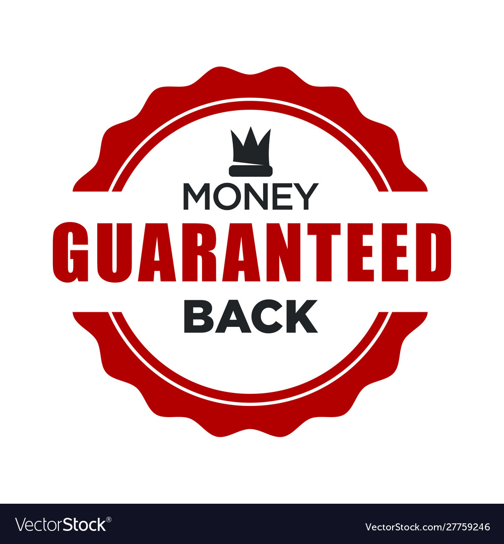 Money back guaranteed red stamp template with