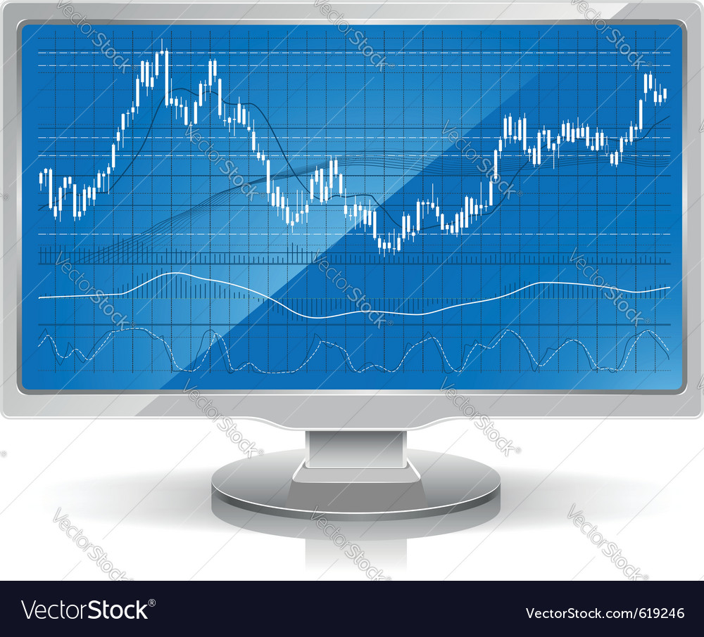Stock chart on white monitor home workstation