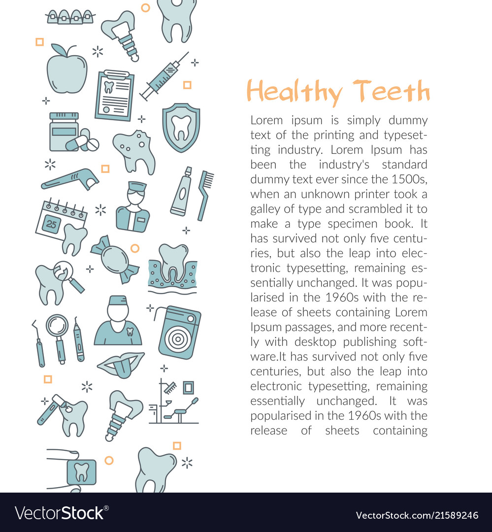 Template with text healty teeth blue outline icon