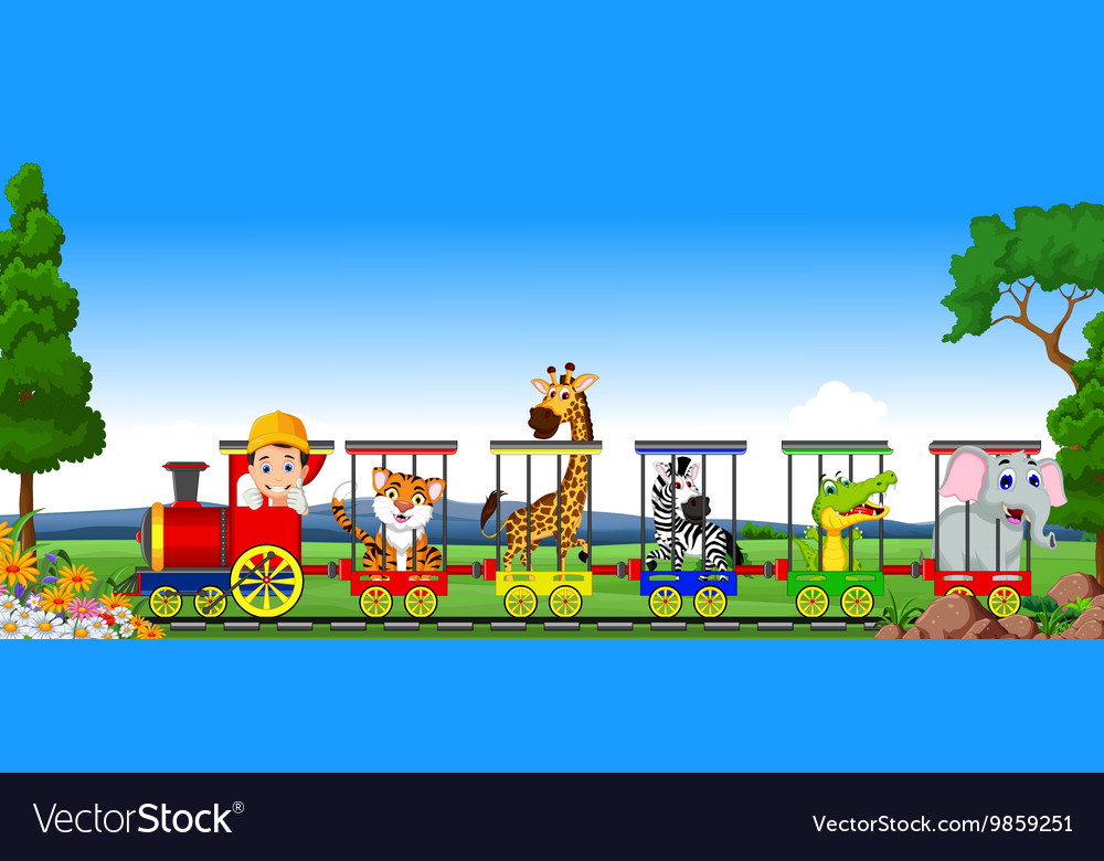 animal train cartoon royalty free vector image