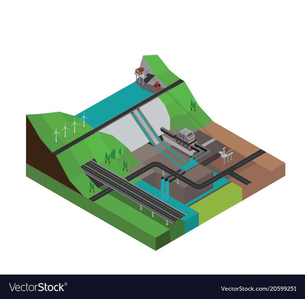 Dam hydroelectricity power station isometric