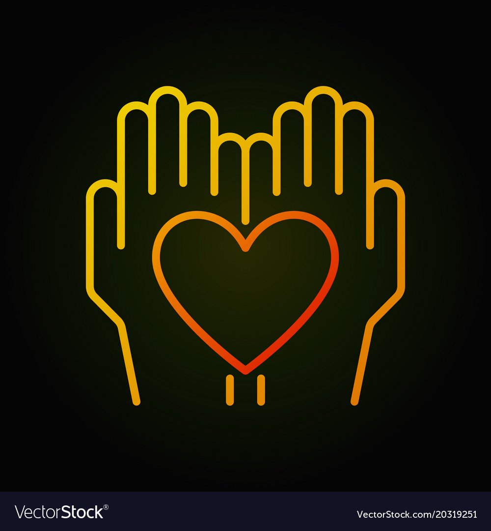 Heart in hands bright thin line icon