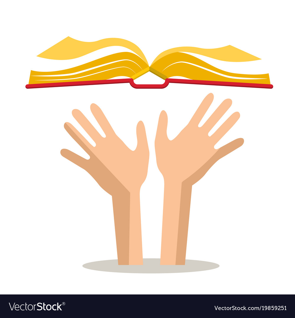 Human hands with open book