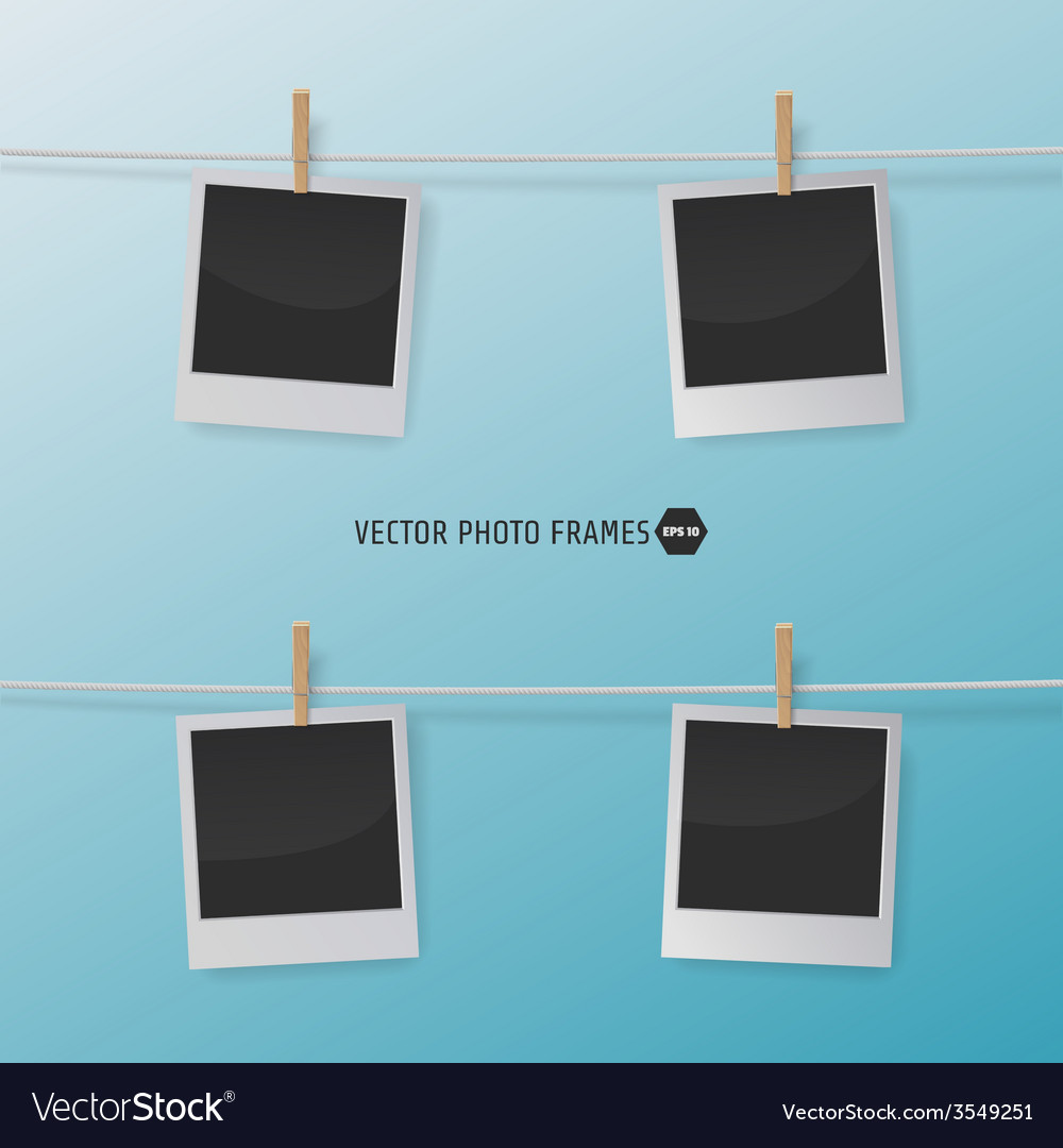 Retro Photo Frames on a Rope with clothespins for