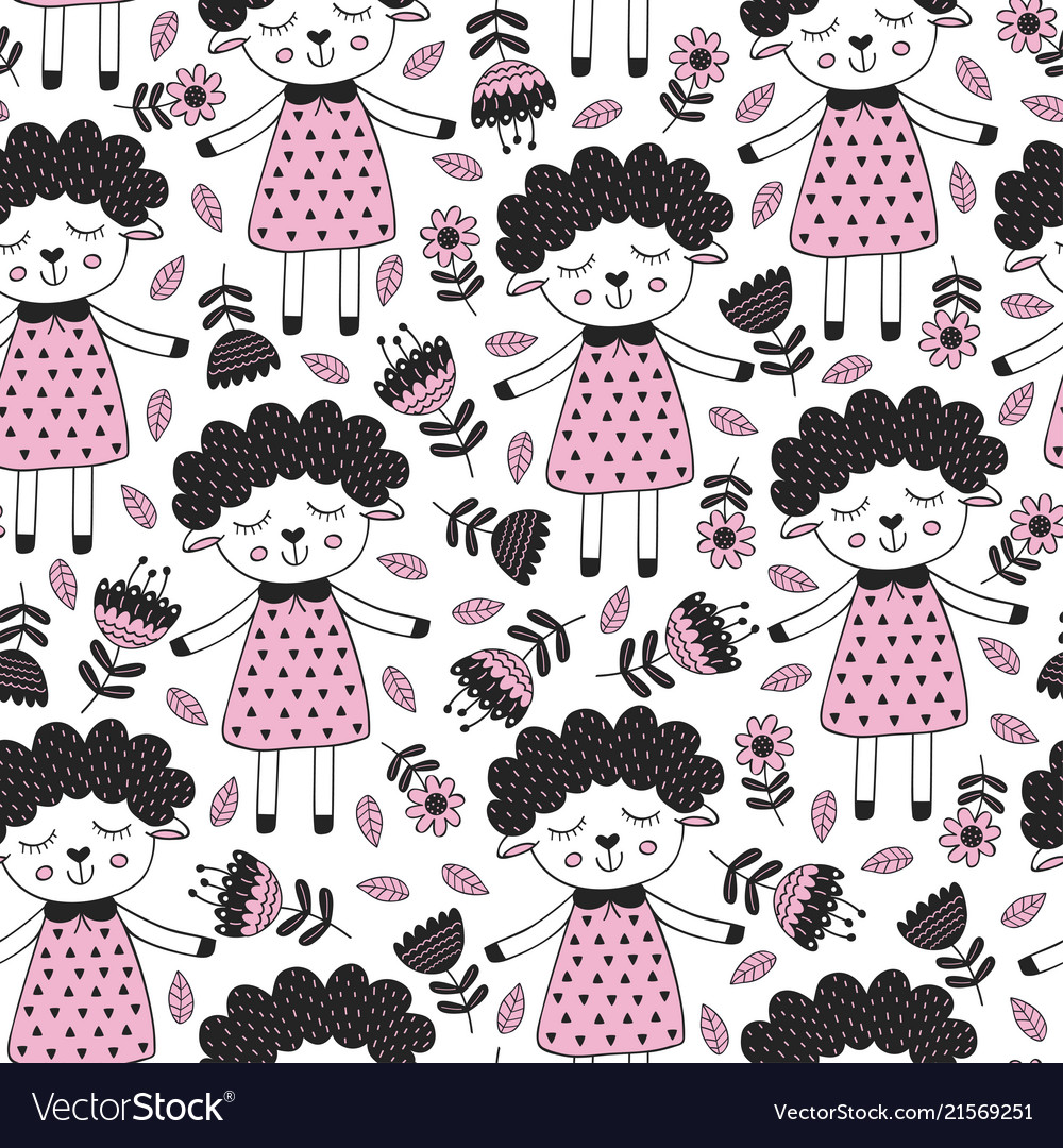 Seamless pattern with sheep girl and flower