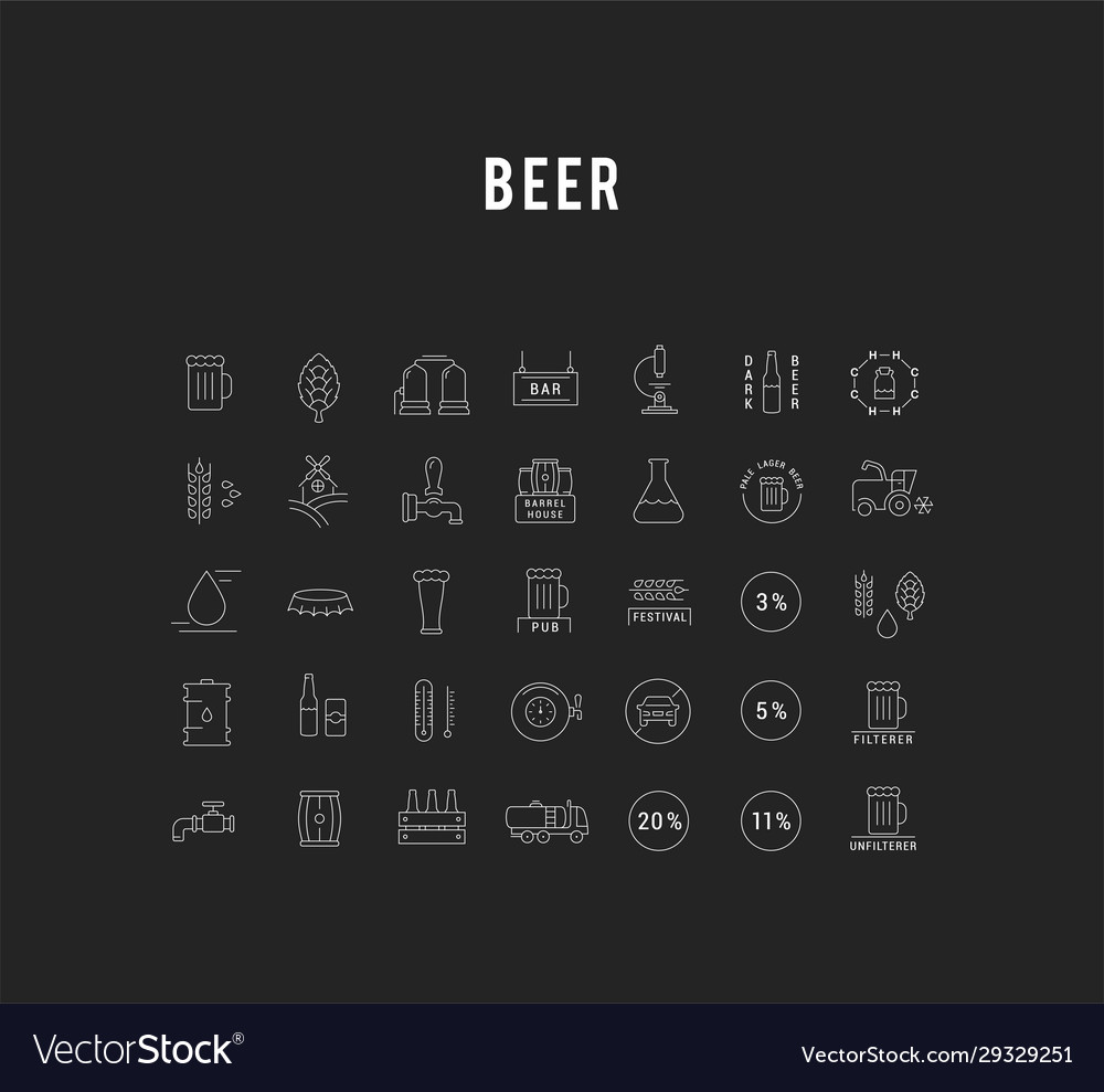 Set flat line icons beer
