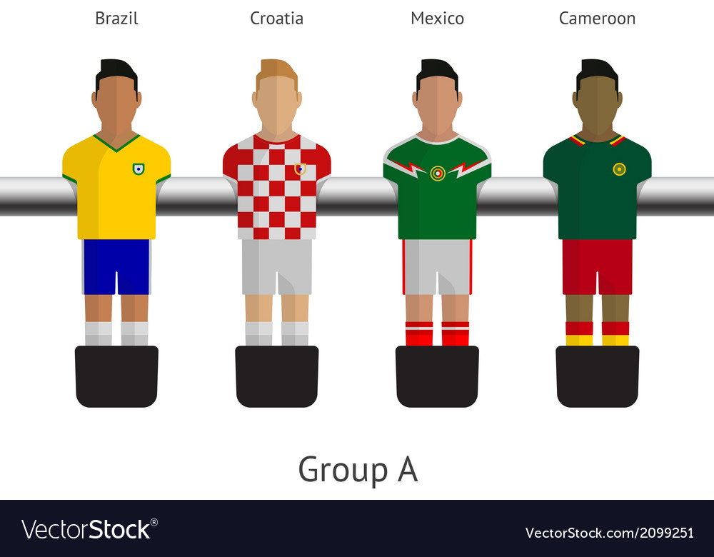 Table football soccer players Group A - Brazil vector image