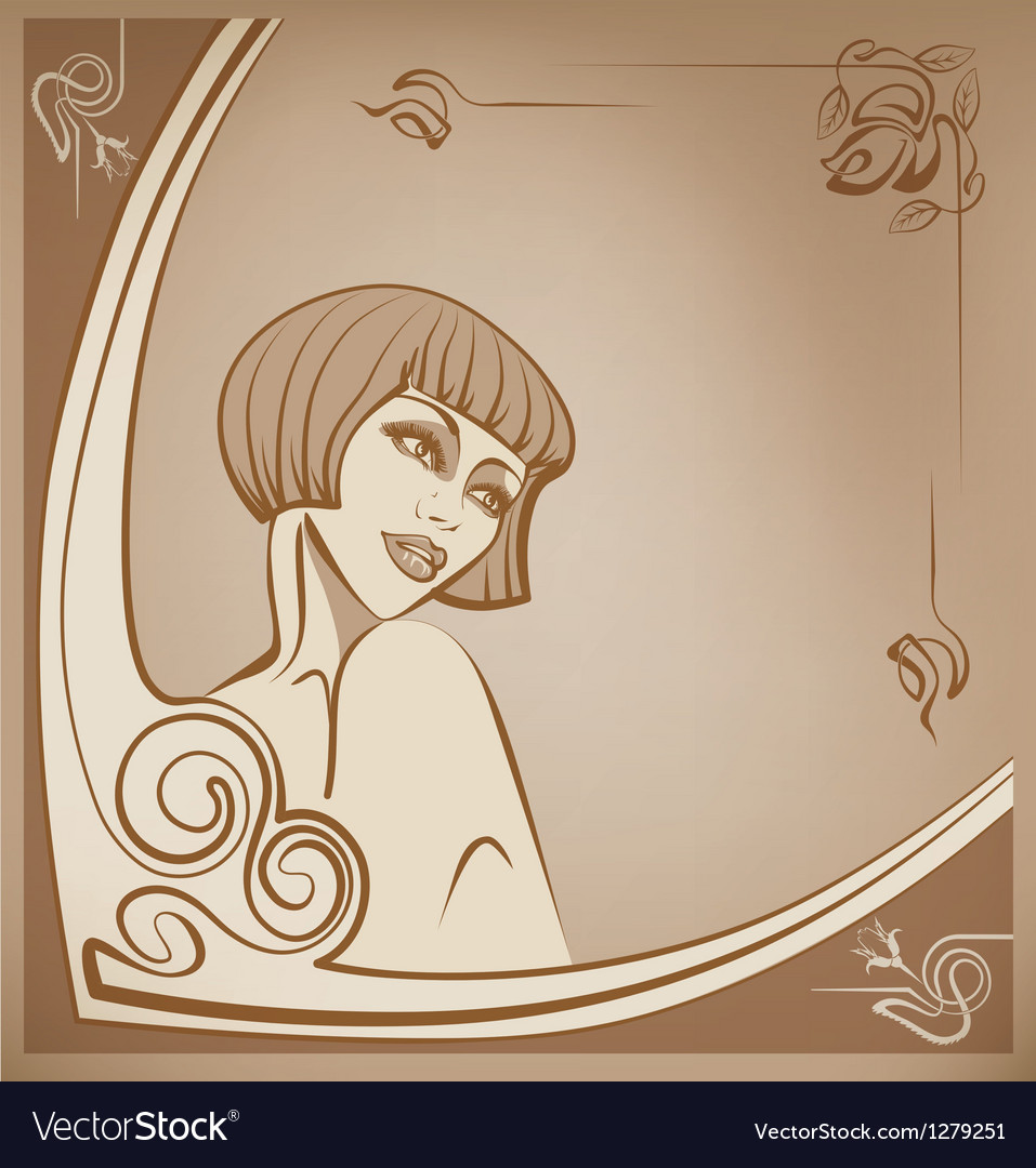 Tender sepia roaring 20-s girl background vector image