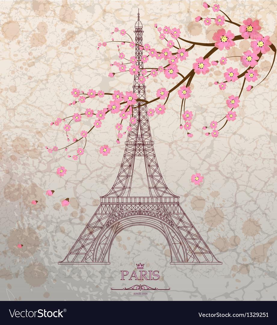 Vintage of Eiffel tower on grunge background