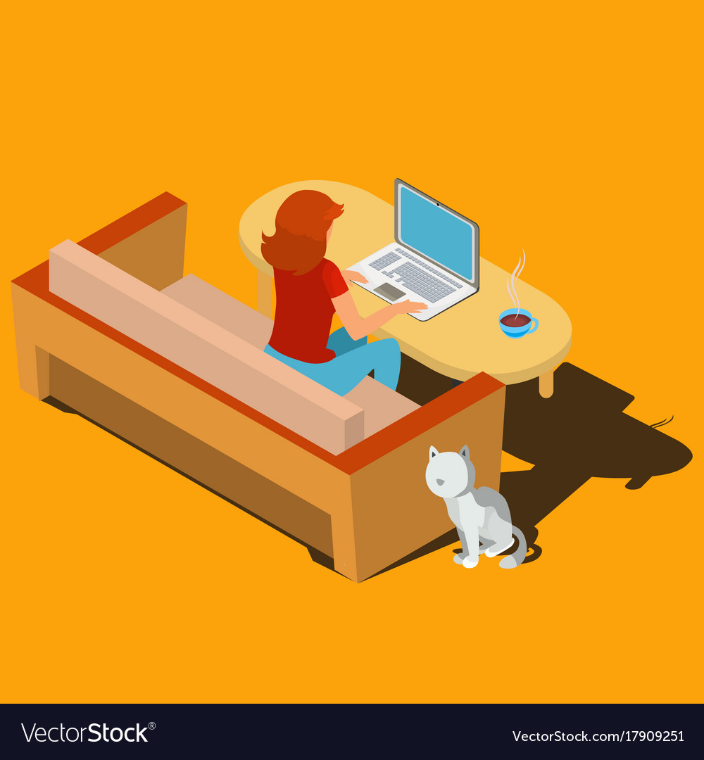 Woman working on laptop at desk isometric