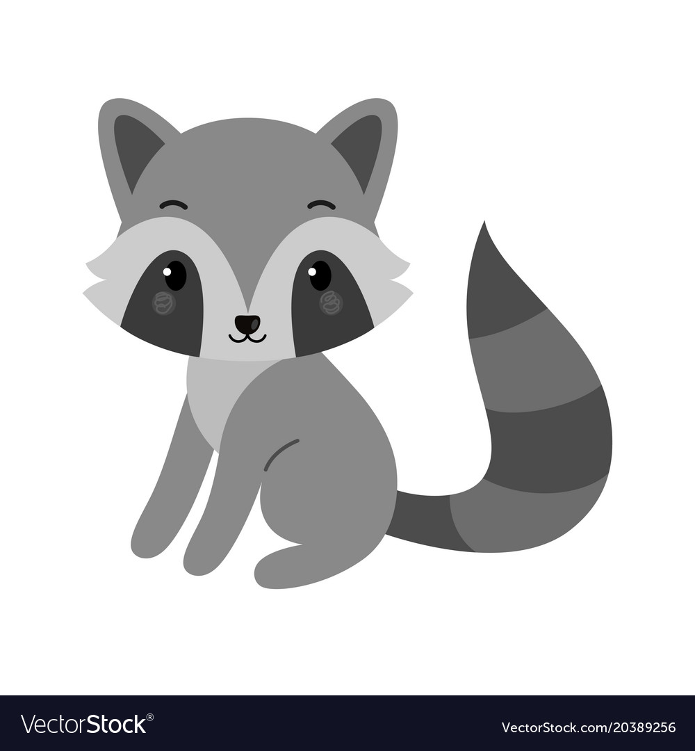 Adorable raccoon in flat style