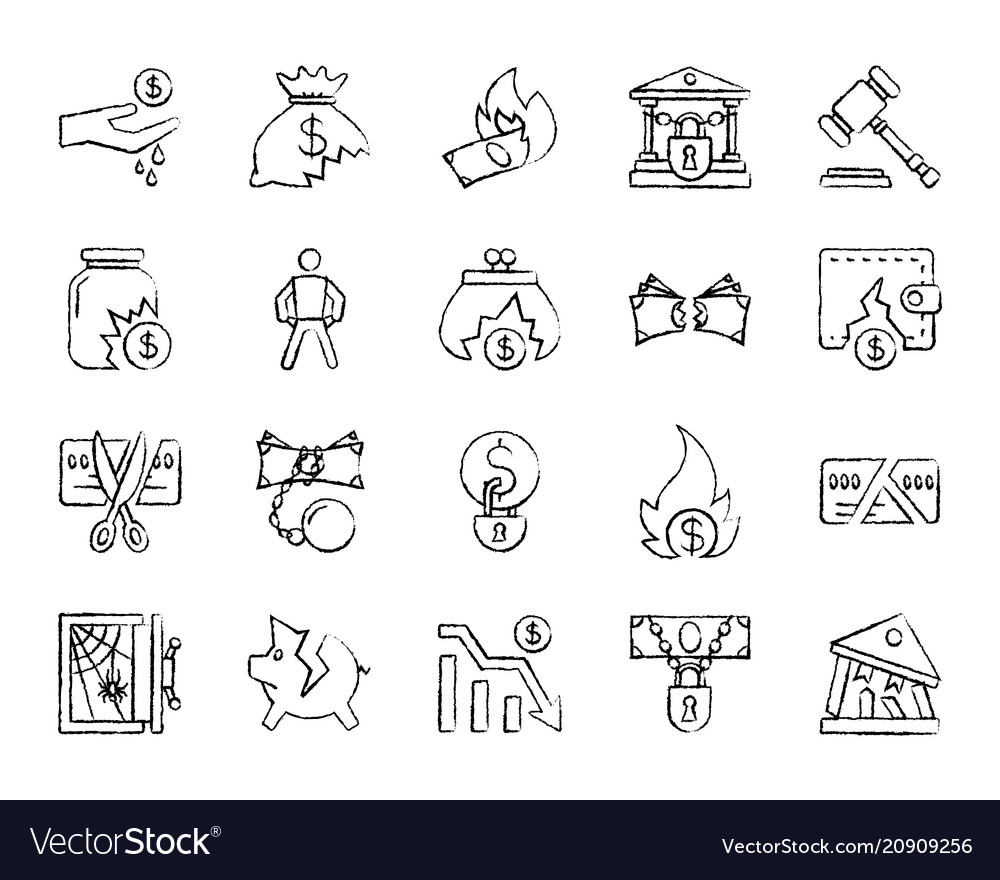 Bankruptcy charcoal draw line icons set