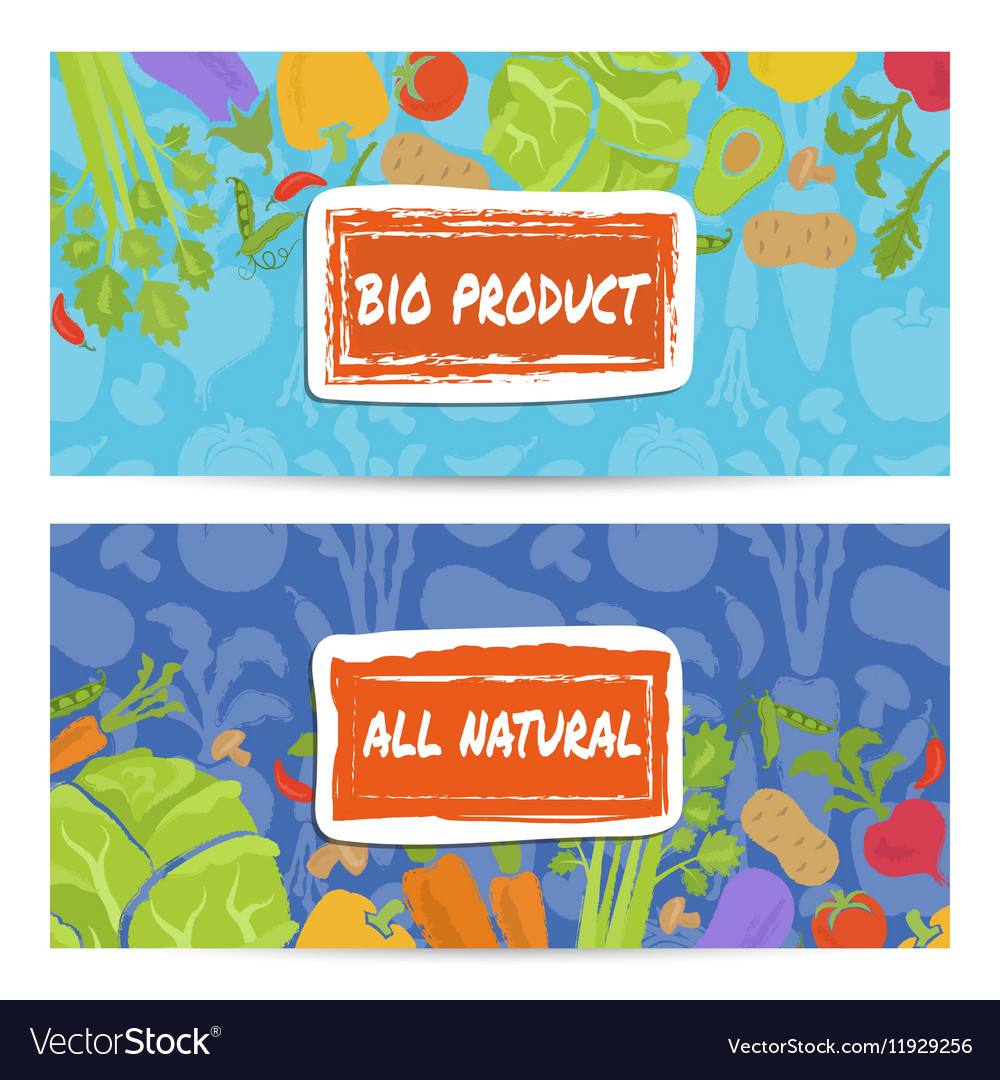 Bio product horizontal flyers set