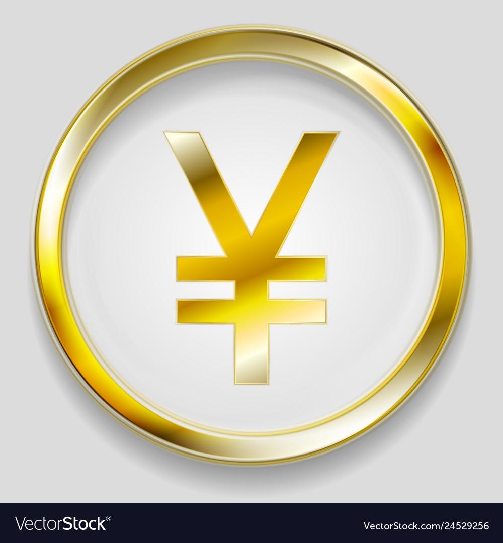 Concept golden yuan symbol logo button