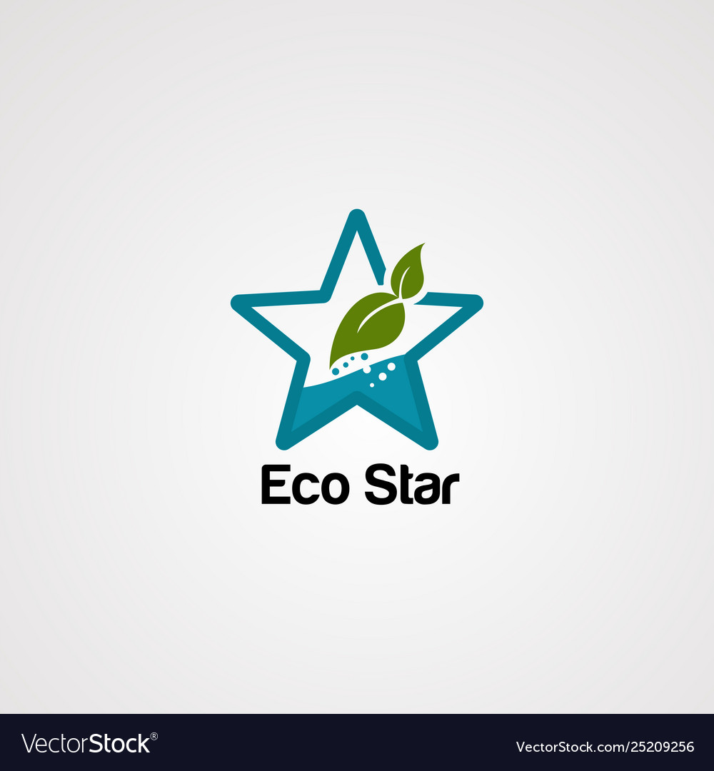 Eco star logo icon element and template
