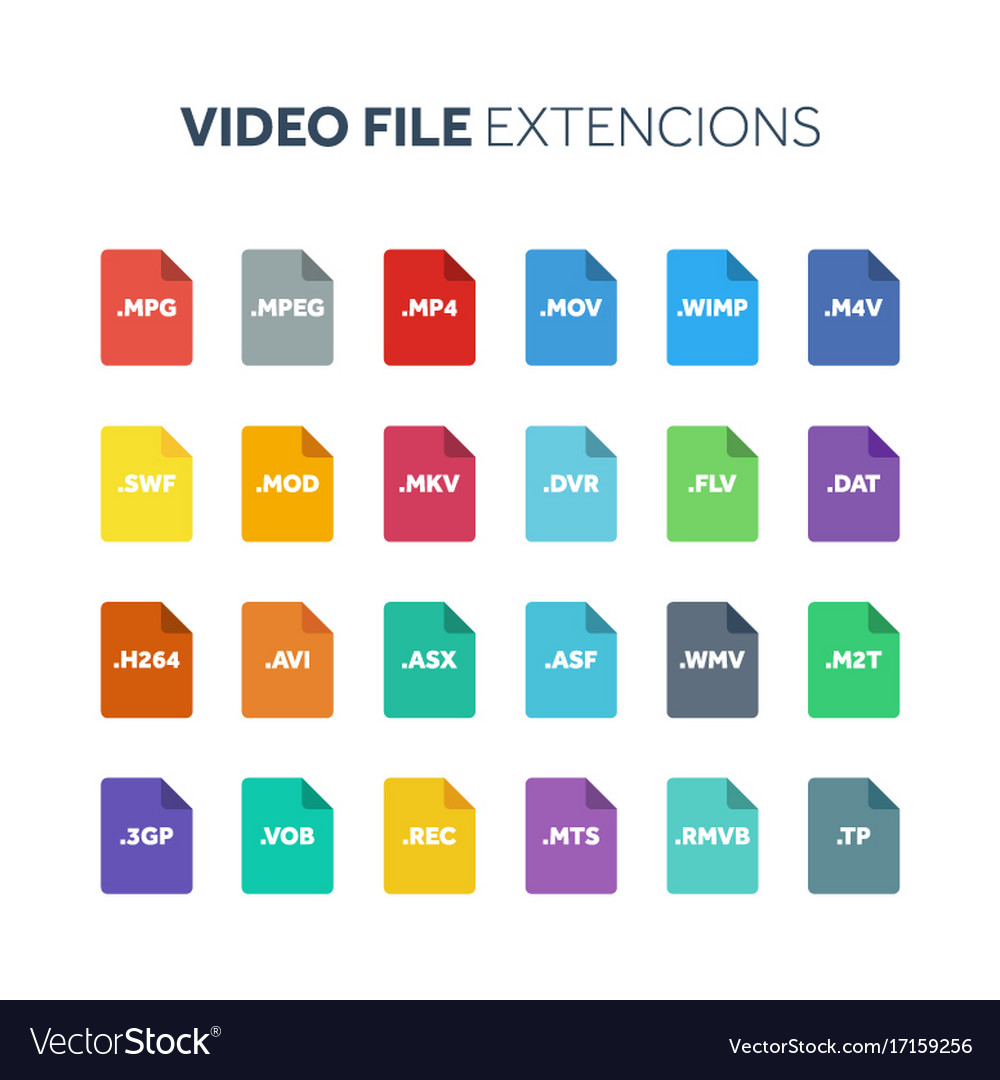 Flat style icon set video movie film file type vector image