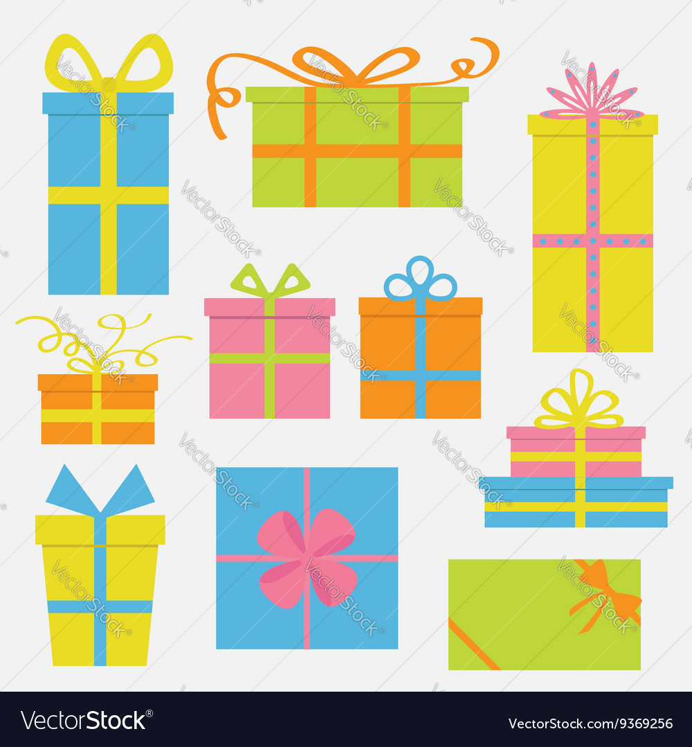 Gift box icon set Colorful cartoon collection