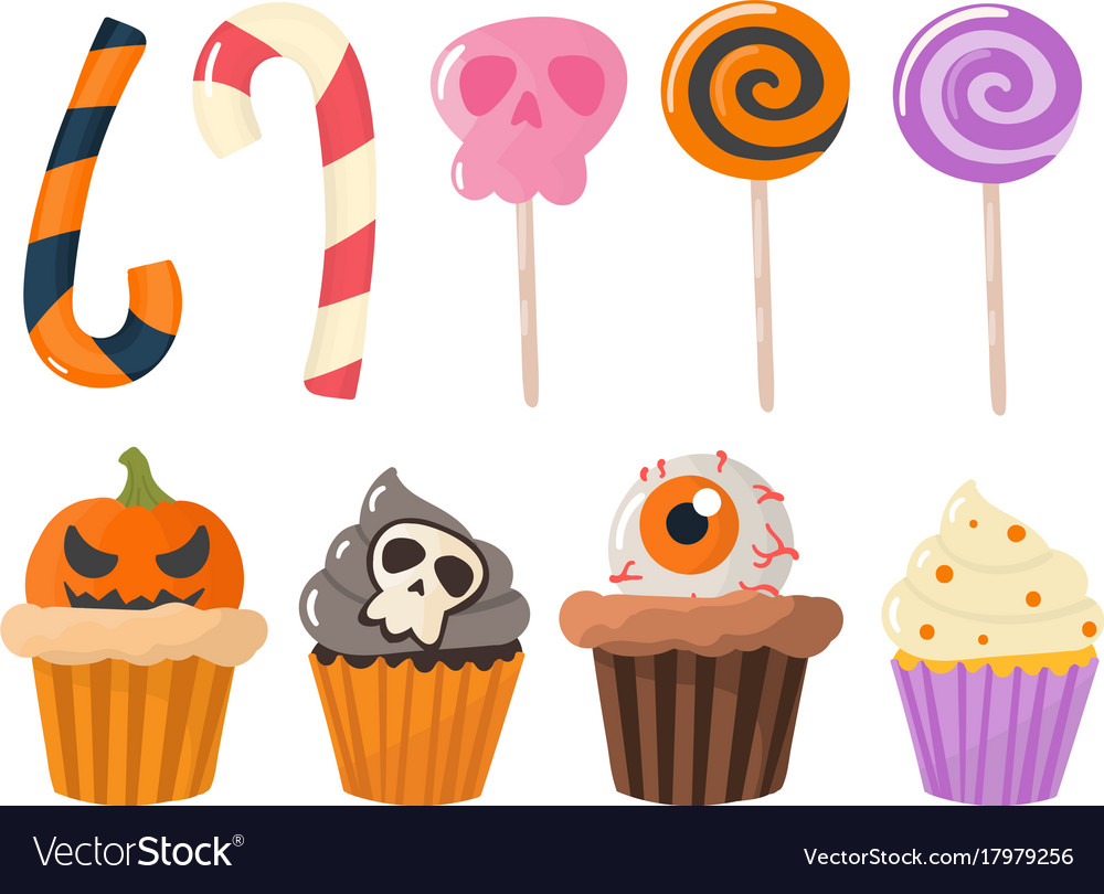 Halloween party colorful sweets cupcakes lollipops