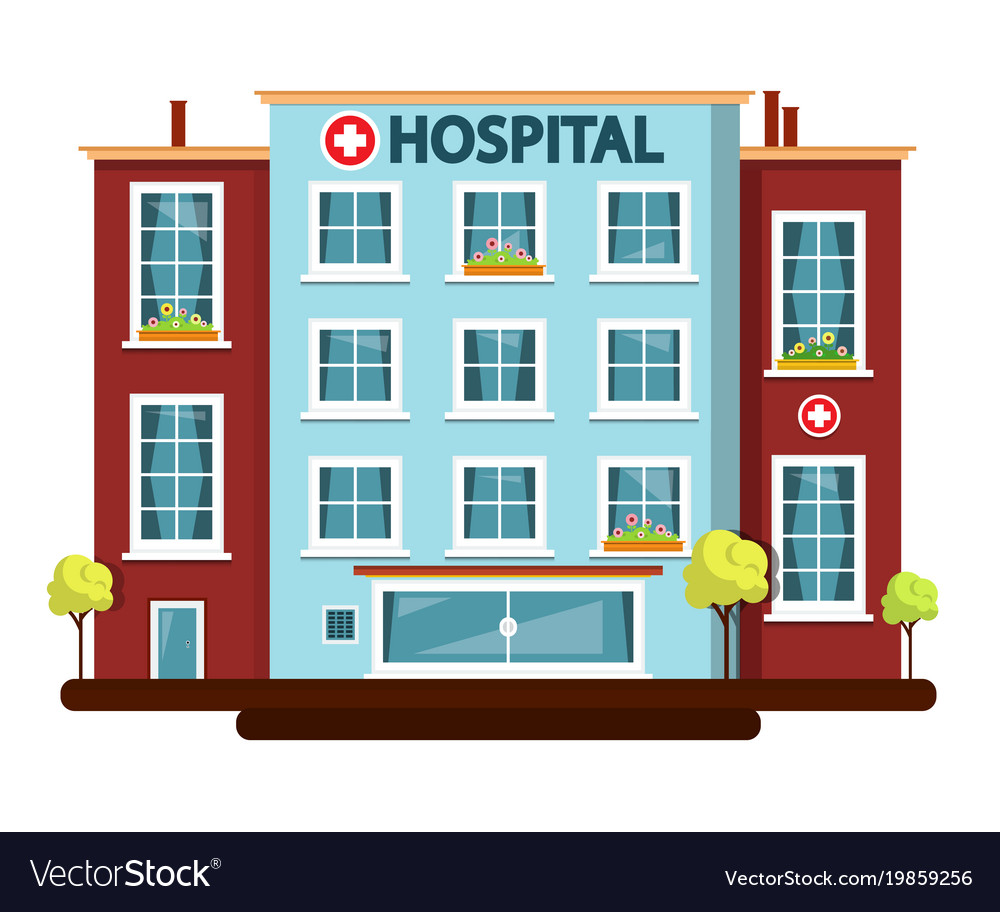 Hospital flat design building isolated on white vector image