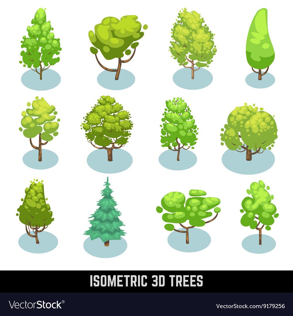 Isometric 3D trees landscape elements set