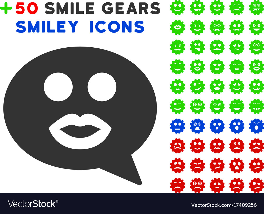 Kiss Smiley Message Icon With Bonus Facial Vector Image