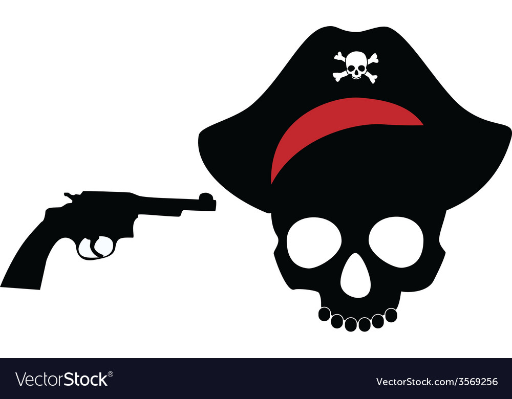 Pirate skull with revolver vector image