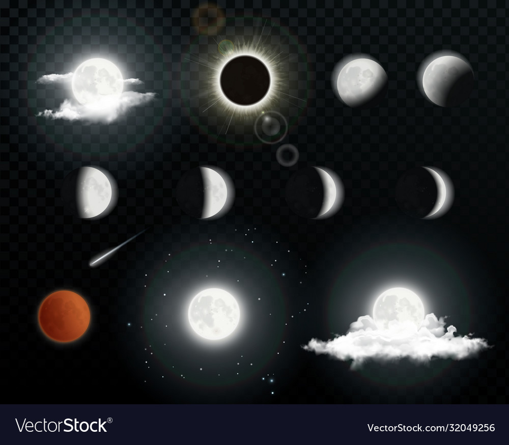 Realistic moon phases with clouds