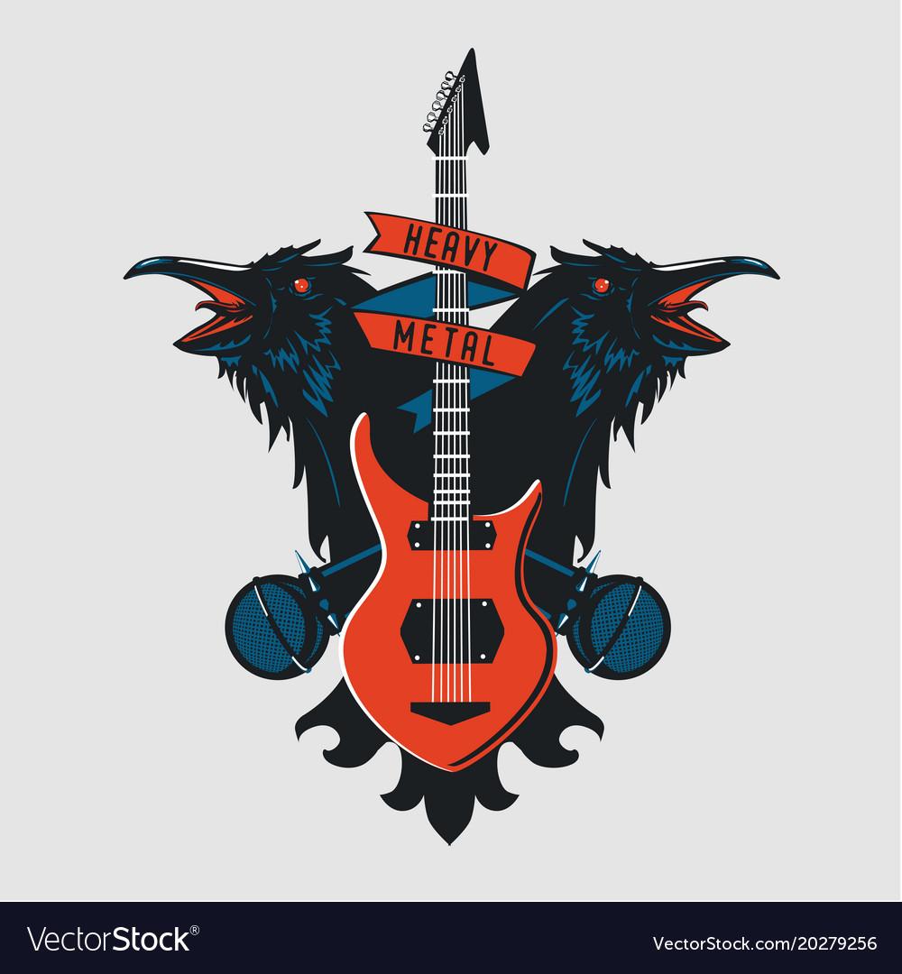 Rock music emblem vintage sign with guitar