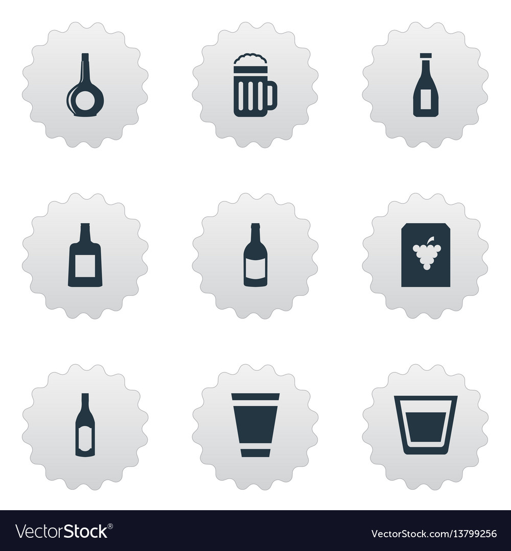 Set of simple drinks icons