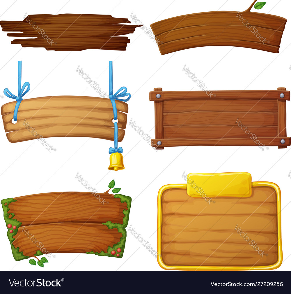 Set wooden banners with decorative elements
