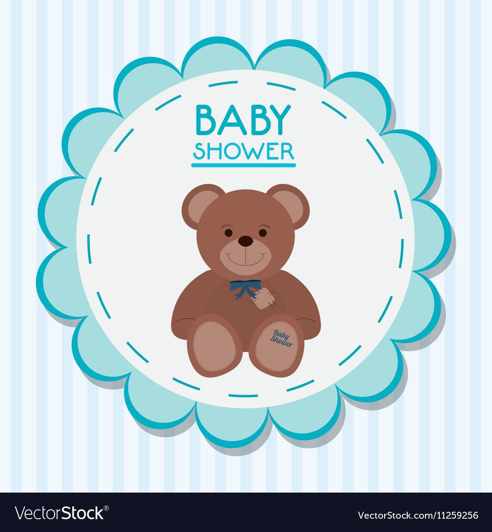 Teddy bear of baby shower card design vector image