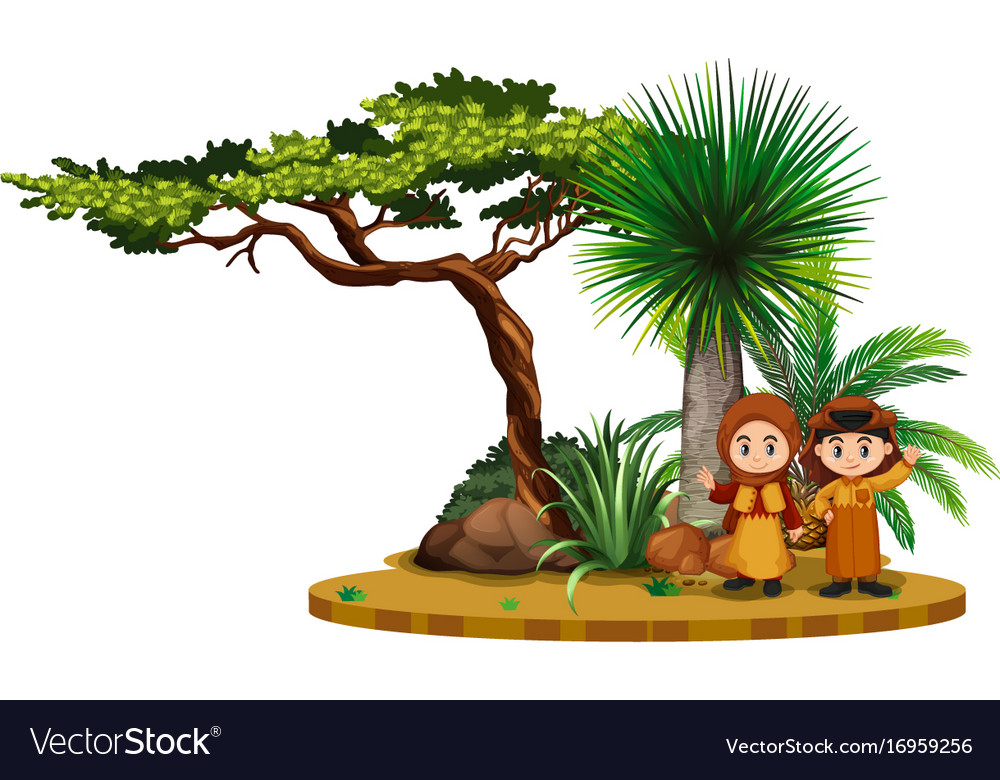 Two kids in arab outfit in the field vector image