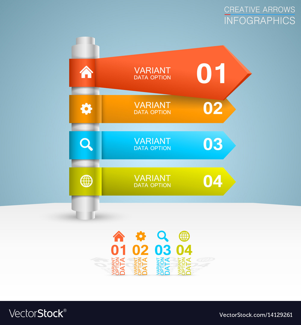 Direction list of options vector image