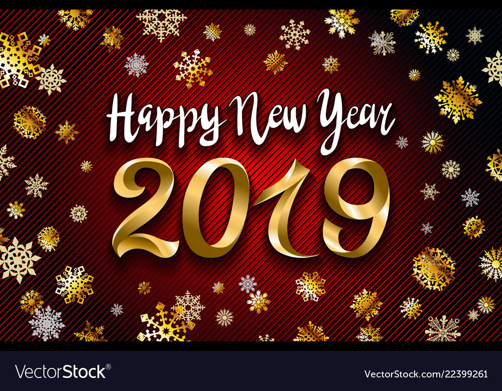 Gold snow 2019 happy new year on the snowflakes