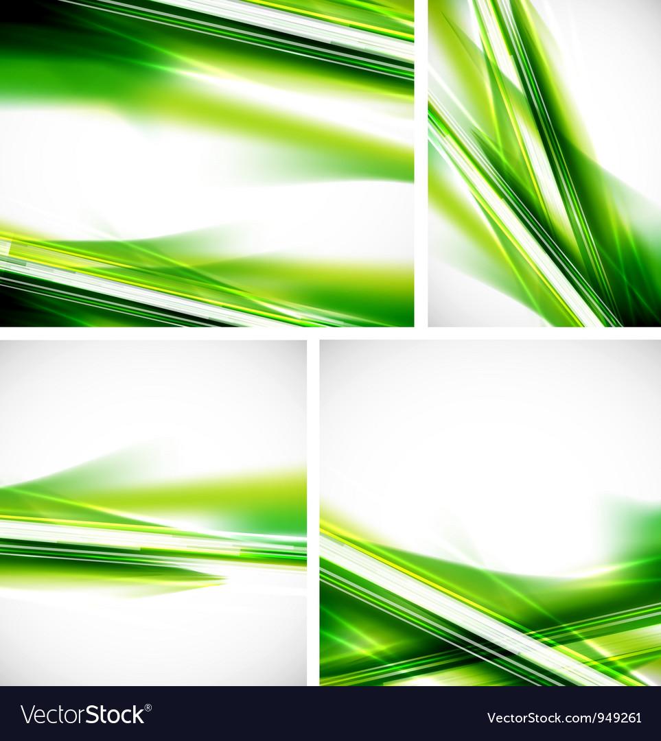 Green lines background set vector image