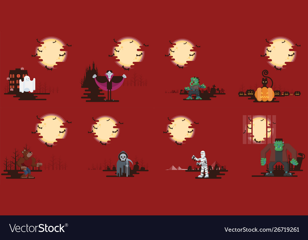 Halloween cartoon characters on background set