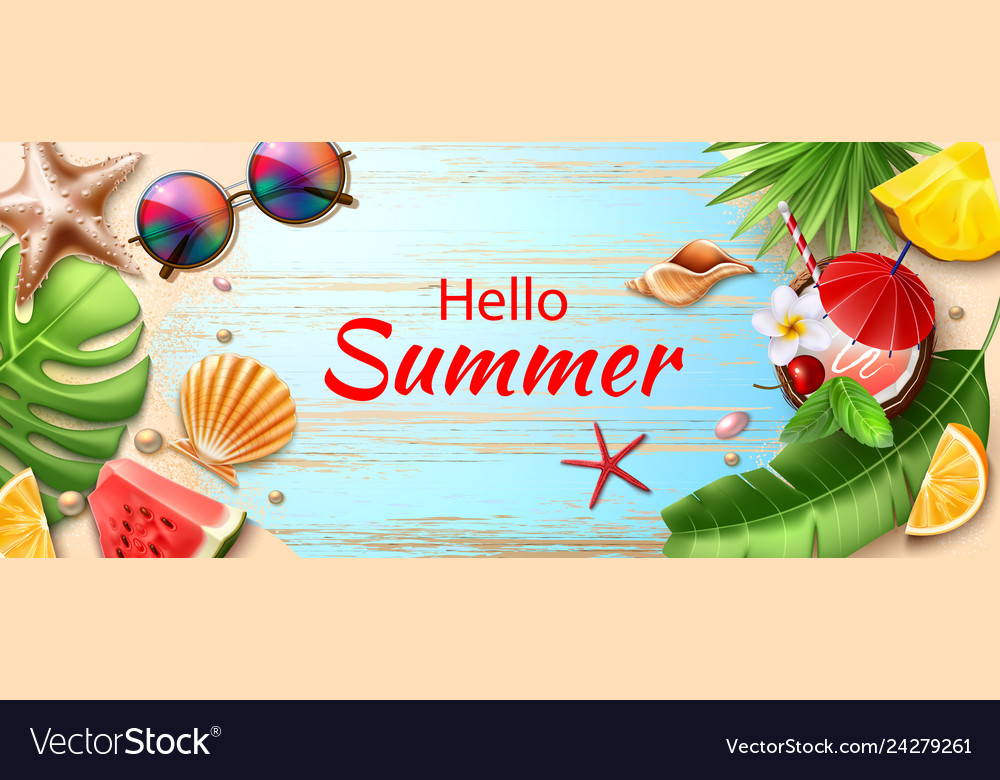 Hello summer poster tropical fruits leaves