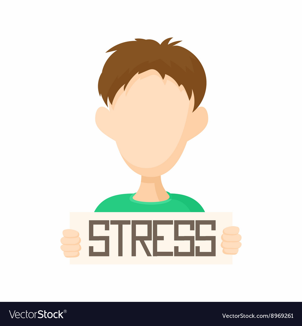 Man holding stress word poster icon cartoon style vector image