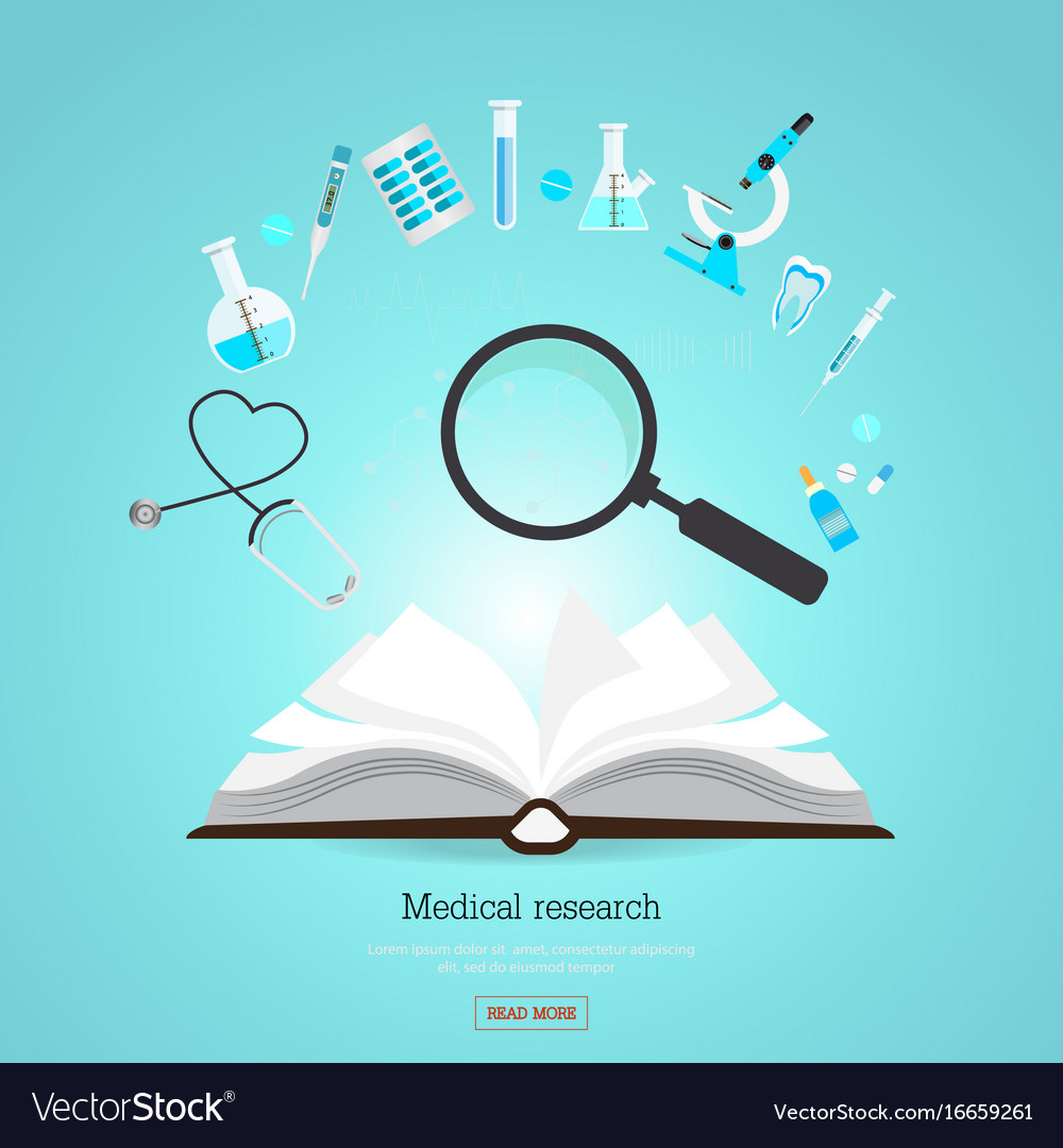 Medical research healthcare with open book
