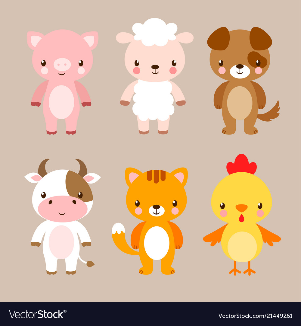 Set with cute animals in cartoon style