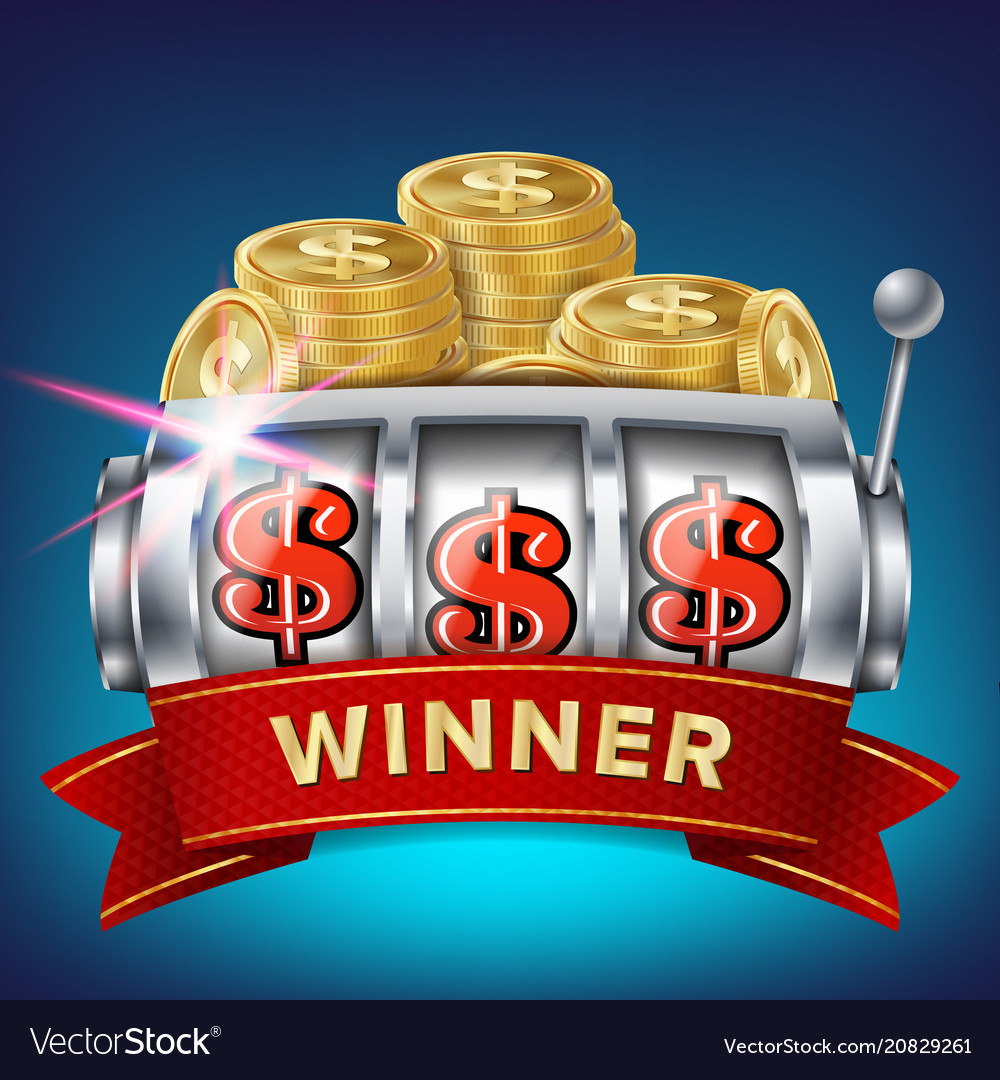 Slot machine banner win jackpot in game