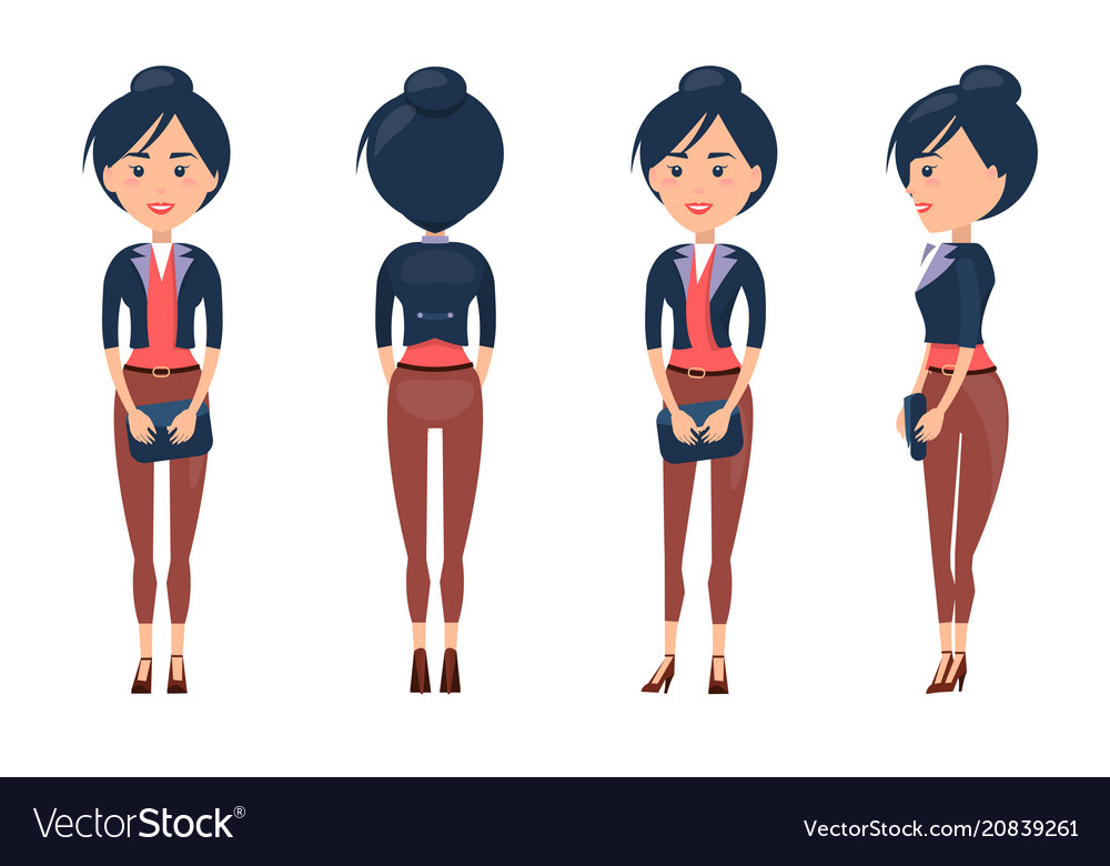 Woman constructor girl side front and back view