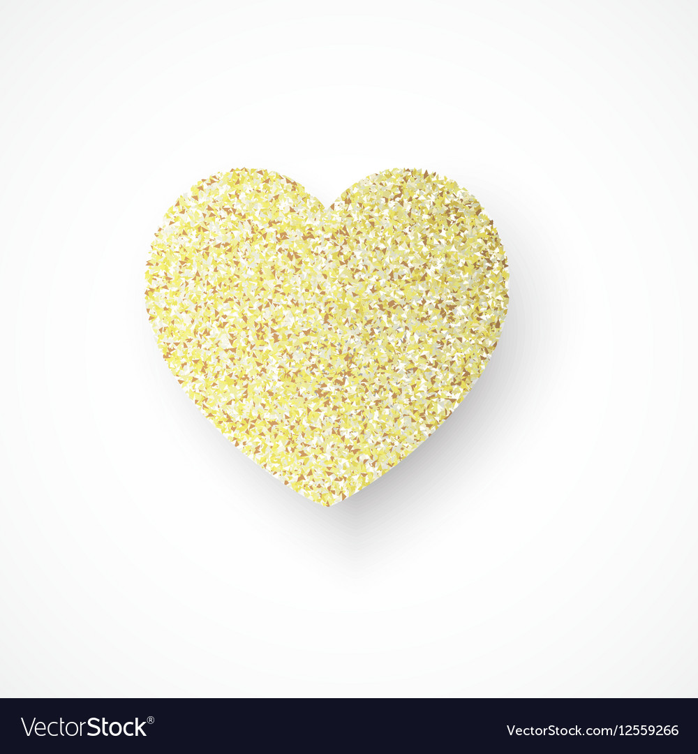 Background with gold glitter heart vector image