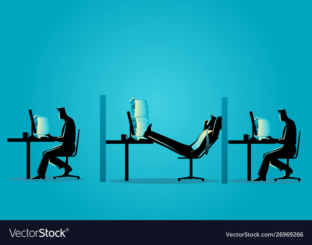 Businessman relaxing while his friends working