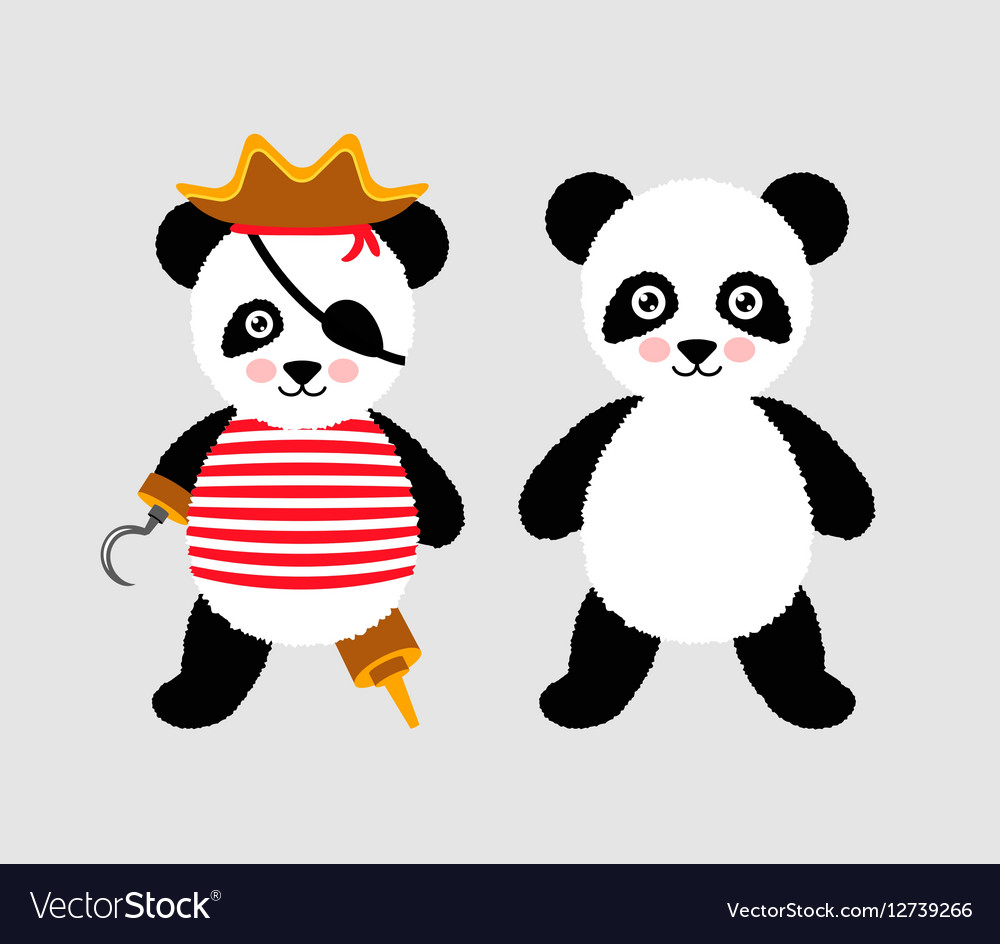 Cute panda pirate standing with hat and hook